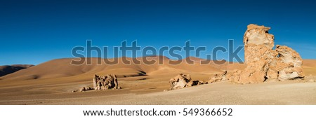 Panorama at Monjes de la Packana in the early morning light, Atacama desert, Chile