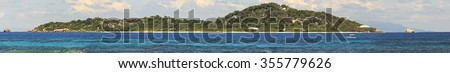 Panorama beautiful Cousin Island in the Indian Ocean. Seychelles. - stock photo
