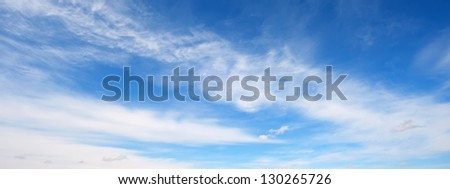 Panorama blue sky with white clouds, general form - stock photo