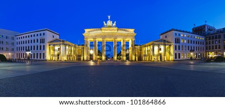 panorama brandenburg gate in berlin, germany, at night - stock photo