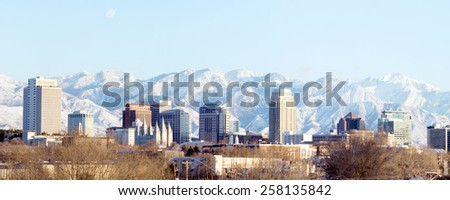 Panorama center of the capital of Utah - Salt Lake City