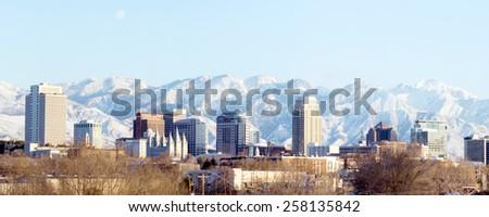 Panorama center of the capital of Utah - Salt Lake City - stock photo