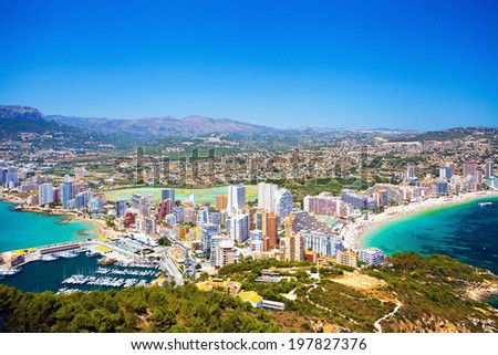 Panorama City and two bays with beaches and yachts (Spain, Calpe) - stock photo