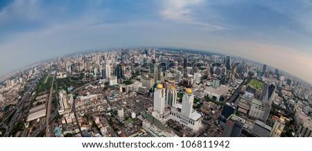 Panorama city scape - stock photo