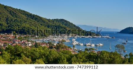 Panorama city scape of Gocek bay in Fethiye, Turkey