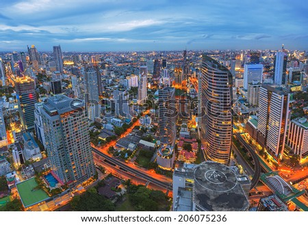 Panorama cityscape in center bangkok, Thailand - stock photo