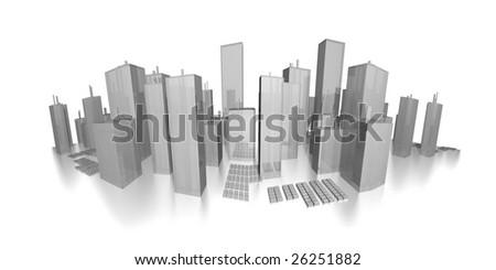 panorama cityscape - skyline - stock photo