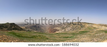 Panorama desert mountain landscape, Jordan  - stock photo