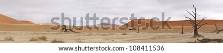 Panorama from five photos of the Deadvlei area near Sossusvlei,  Namibia - stock photo