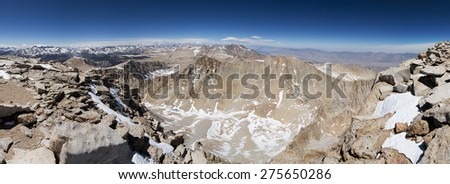 panorama from Mount Whitney looking north up the Sierra Crest - stock photo