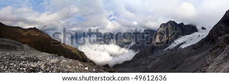 Panorama from 10 single photos, viewpoint from Stelvio Pass - located in italy in the european alps at 2757 m (9045 ft.)  The Panorama of mountain range Stelvio National Park