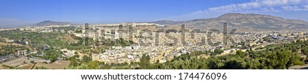 Panorama from the city Fes in Morocco Africa - stock photo