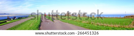 Panorama from the dyke near Amsterdam in the Netherlands - stock photo