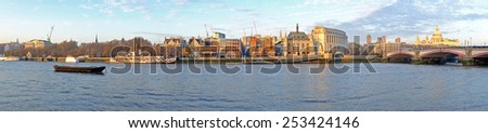 Panorama from the Thames and St. Paul's Cathedral in London UK - stock photo