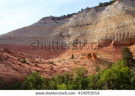Panorama from Zion National Park, Utah USA. Geological formations. Beautiful scenery - stock photo