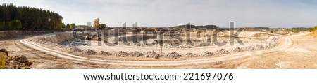Panorama High Resolution large quarry limestone ore - stock photo