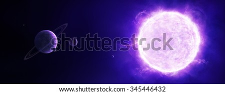 Panorama illustration of a solar system with a purple sun, a ring planet and moons - stock photo
