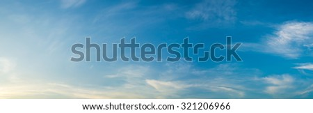 panorama image of blue clear sky on day time for background usage. - stock photo