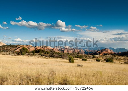 panorama in colob plateau, zion national park, utah, usa - stock photo