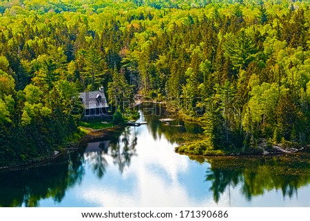 panorama lake of sacacomie in quebec canada - stock photo