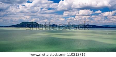 Panorama landscape at Lake Balaton,Hungary - stock photo