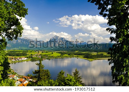 panorama landscape in Bavaria with alps mountains - stock photo