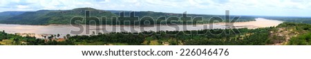 panorama landscape Mekong River.Border between Thailand and Laos. Taken from Pha Taem National Park in Ubon Ratchathani Province Thailand.. . - stock photo