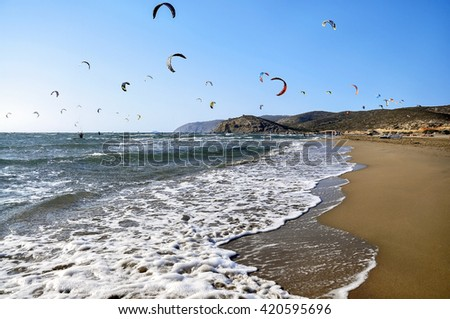 Panorama landscape of surfing beach on Rhodes - stock photo