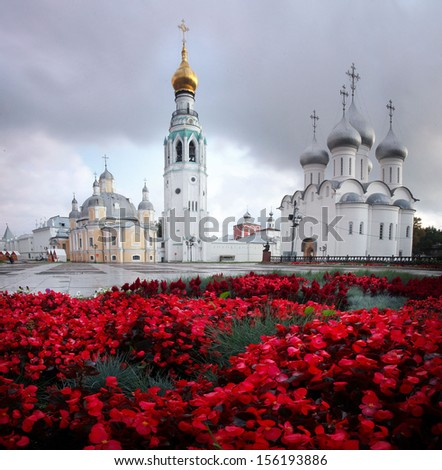 panorama landscape Orthodox Church - stock photo