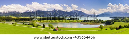 panorama landscape with alps mountains and lake in Bavaria, Germany - stock photo