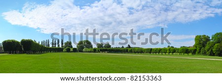 Panorama, landscaping architecture of royal  Chateau de Chambord Loire-et-Cher, France - stock photo