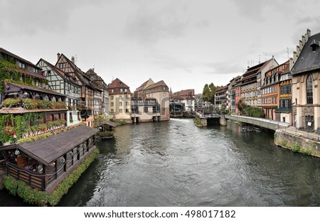 Panorama made in The Petite France area in Strasbourg