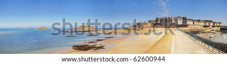 Panorama medieval pirate fortress of St. Malo. Brittany, France - stock photo