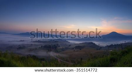 Panorama misty morning sunrise in Khao Takhian Ngo View Point at Khao-kho Phetchabun,Thailand - stock photo