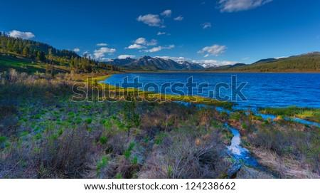 panorama mountain Lake - stock photo