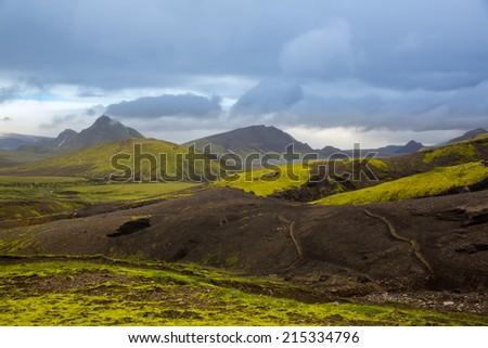 Panorama Mountain National Park Landmannalaugavegor. Iceland. - stock photo