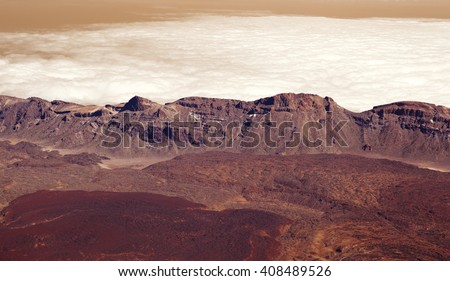 Panorama mountains in dusk clouds in red planet Mars - stock photo