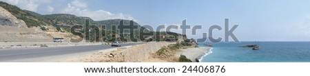 Panorama, mountains, sea, beach - stock photo