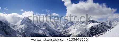 Panorama Mountains. Ski resort Dombay. Caucasus Mountains. - stock photo