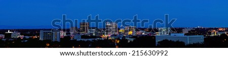 panorama night city of Boise Idaho - stock photo