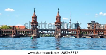 Panorama Oberbaum bridge in Berlin Germany - stock photo