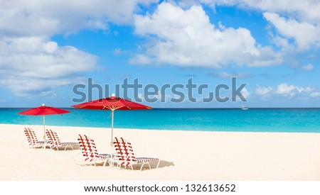 Panorama of a beautiful beach on Anguilla island, Caribbean - stock photo