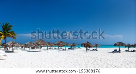 Panorama of a beautiful Caribbean beach  - stock photo