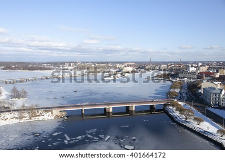 panorama of a city  Vyborg in sunny spring day