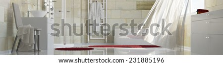 Panorama of a clean bath with terracotta tiles and a moving curtain (3D Rendering) - stock photo