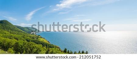 Panorama of a coastal scene on the cabot trail (Cape Breton, Nova Scotia, Canada) - stock photo