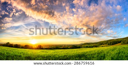 Panorama of a colorful sunset on a fresh green meadow, wide format rural landscape with vibrant colors - stock photo