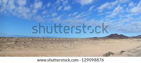 panorama of a desert landscape at Fuerteventura, Canary Islands - stock photo