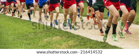 Panorama of a group of runners in colorful shoes running a 5k - stock photo