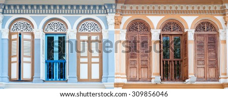 Panorama of a Shophouse in Singapore. - stock photo